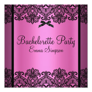 Pink & Black Damask Lace Bachelorette Invite