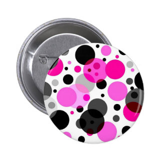 Pink, Black, Grey Polkadots 6 Cm Round Badge