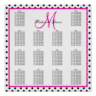 Pink Black Polka Dots Wedding Seating Chart Poster