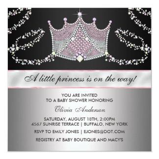 Pink Black Tiara Baby Girl Princess Baby Shower 13 Cm X 13 Cm Square Invitation Card