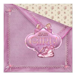 Pink Blanket Rosebuds Booties Baby Girl Shower 13 Cm X 13 Cm Square Invitation Card