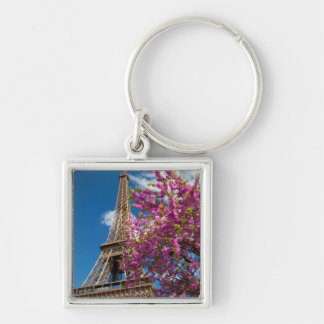 Pink Blossoming Tree Below The Eiffel Tower Silver-Colored Square Key Ring
