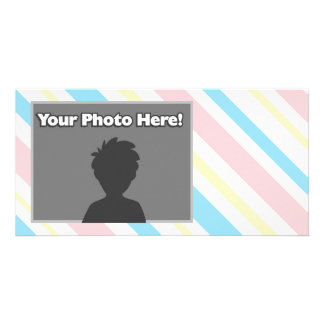 Pink Blue and Yellow Striped Photo Card Template
