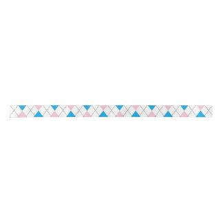 Pink blue argyle pattern satin ribbon
