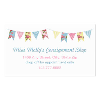 Pink & Blue Bunting Consignment Store / Daycare Pack Of Standard Business Cards