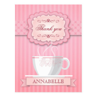 Pink Bridal Shower Tea Party Thank You Postcard