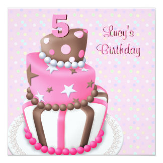 Pink Brown Cake Girls 5th Birthday Party 13 Cm X 13 Cm Square Invitation Card