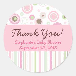 Pink Brown Sweet Girl Polka Dot Favor Sticker