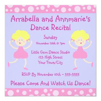 Pink Bubbles Dance Recital Invitation