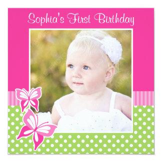 Pink Butterfly Green Polka Dot 1st Birthday Photo 13 Cm X 13 Cm Square Invitation Card