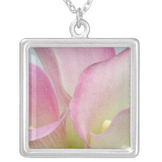 Pink Calla Lilies Square Pendant Necklace