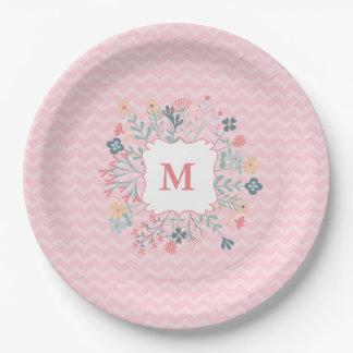 "Pink Chevron Monogram Custom Paper Plates 9"" 9 Inch Paper Plate"