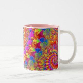 Pink Crazy Fractal Two-Tone Mug