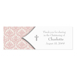 Pink Damask Cross Bomboniere Tags Pack Of Skinny Business Cards
