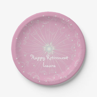 Pink Dandelion Retirement Party Plates 7 Inch Paper Plate