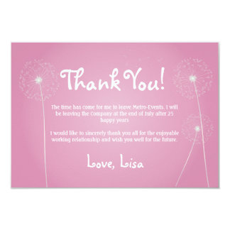 Pink Dandelion, Thank You Cards 9 Cm X 13 Cm Invitation Card