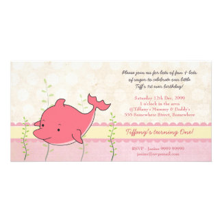 Pink Dolphin Girls 1st Birthday Party Invite Customized Photo Card