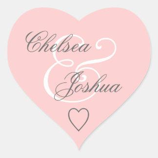 Pink Envelope Seal Wedding Heart V07 Heart Sticker