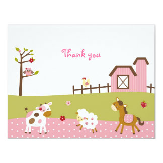 Pink Farm Animal Girls Thank You Note Cards 11 Cm X 14 Cm Invitation Card