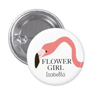 Pink Flamingo Whimsy Flower Girl 3 Cm Round Badge