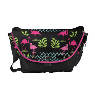 Pink Flamingos and  Water Ripples Pretty Pattern Messenger Bag