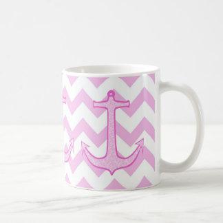 Pink Floral Anchor on Chevron Basic White Mug