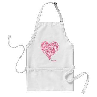 Pink Flower Love Heart Apron