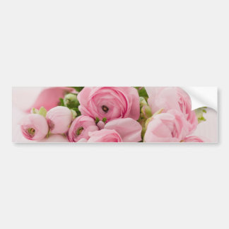 Pink Flowers Bouquet, Love Wedding Romance Bumper Sticker