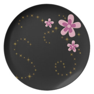 pink flowers with shining stars plate