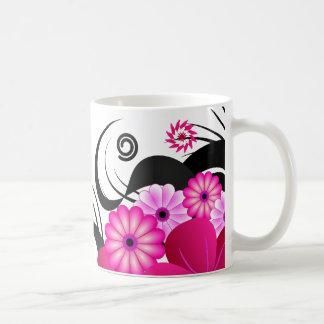 Pink Fuchsia and White Floral Hibiscus Swirls Mugs
