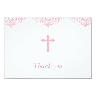 Pink Girls Baptism/Christening Thank You 9 Cm X 13 Cm Invitation Card