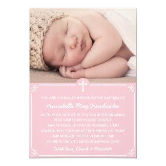 Pink Girls Photo Baptism/Christening Invitation