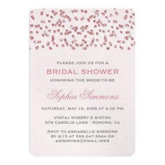 Pink Glitter Look Confetti Bridal Shower Invite