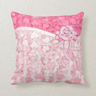 pink glowing Valentine's day hearts rain pillow Cushions