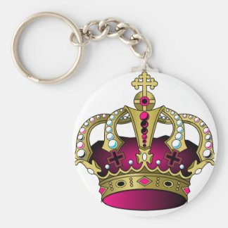 Pink & Gold Crown Basic Round Button Key Ring