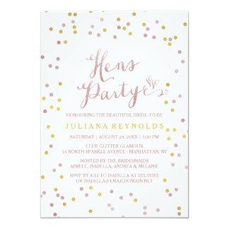 Pink Gold & White Confetti Hens Party Invitation