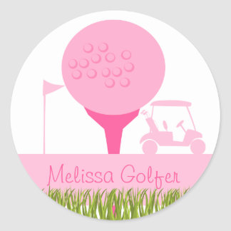 Pink Golf Date Round Sticker