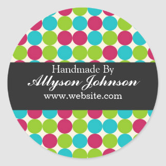Pink, Green Blue Polka Dots   Handmade By Stickers