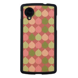 Pink Green Geometric Ikat Teardrop Circles Pattern Carved® Maple Nexus 5 Slim Case
