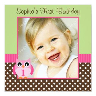 Pink Green Owl Polka Dot 1st Birthday Girl Photo 13 Cm X 13 Cm Square Invitation Card