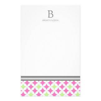 Pink Green White Wedding Monogram Stationery
