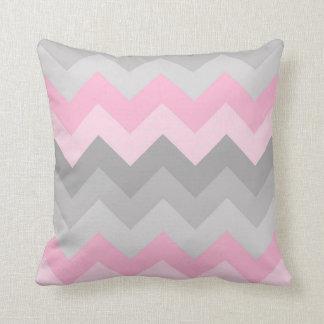 Pink Grey Gray Ombre Chevron Cushion