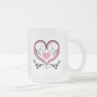 Pink Heart with ornaments Frosted Glass Mug