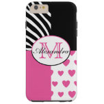 Pink Hearts and Black Zebra Stripes Monogram Tough iPhone 6 Plus Case