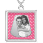 Pink Hearts and Customisable Photo Dog Tags Square Pendant Necklace