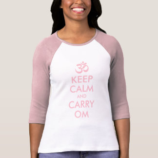 Pink Keep Calm and Carry Om Shirt