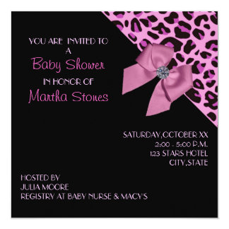 Pink Leopard Print Baby Shower 13 Cm X 13 Cm Square Invitation Card