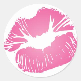Pink LIps Round Sticker