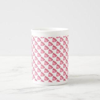 Pink Love Heart Pattern Bone China Mug