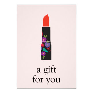 Pink Makeup Artist Lipstick Gift Certificate 9 Cm X 13 Cm Invitation Card